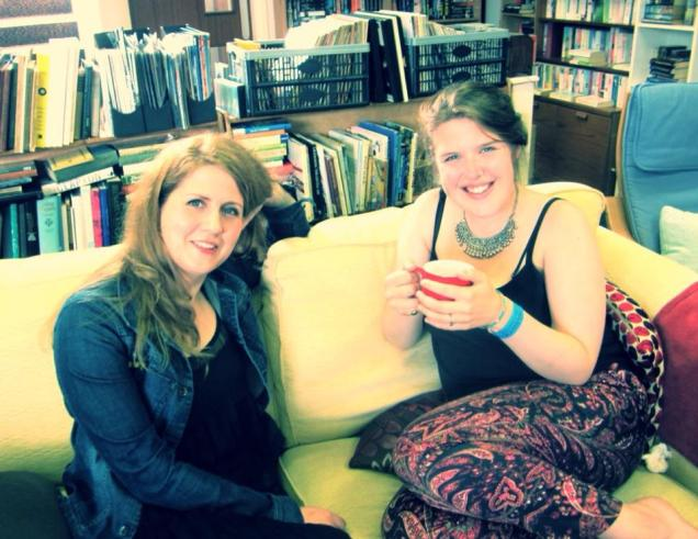 Radio Warwickshire presenter Tamsin Rosewell sharing a cup of tea and a chat on the Tree House sofa with the lovely Lucy Ward.